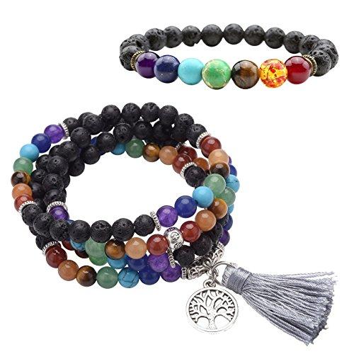 Top Plaza Men Women 8mm Lava Rock Stone 7 Chakra Bracelet Black Healing Energy Gemtone Beads Mala Meditation Bracelet (Buddhist prayer beads chakra bracelets set) (Bead Bracelet Rainbow)