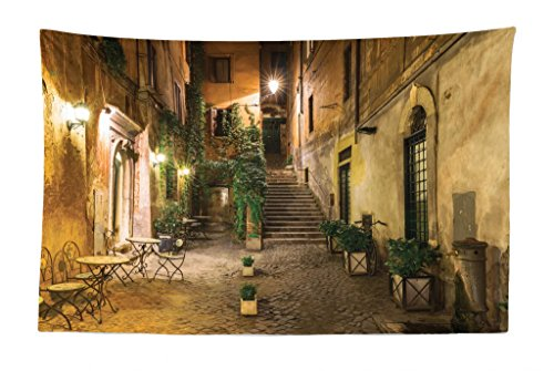 Lunarable Cityscape Tapestry, Courtyard Night View with Street Cafe Chairs Plants in Flowerpots Rome Print, Fabric Wall Hanging Decor for Bedroom Living Room Dorm, 45
