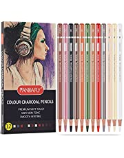 PANDAFLY Professional Charcoal Pencils Drawing Set, Skin Tone Colored Pencils, Colour Charcoal Pencils, Pastel Chalk Pencils for Sketching, Shading, Coloring, Layering & Blending, 12 Colors