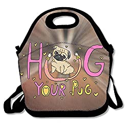 Hoeless Hug Your Pug Insulated Lunch Backpack With Zipper,Carry Handle And Shoulder Strap For Adults Or Kids Black