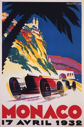 Car Race Grand Prix Monaco 1932 Automobile Vintage Poster Repro