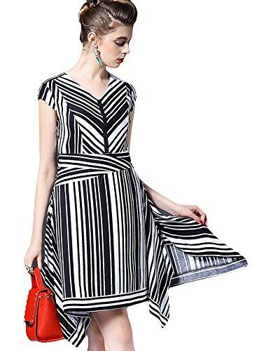 マットレール無実(a la mode) アラモード 大人 エレガント 高級 マルチス ストライプ イレギュラーヘムライン パーティー ドレス ノースリー ワンピース お呼ばれ qin23