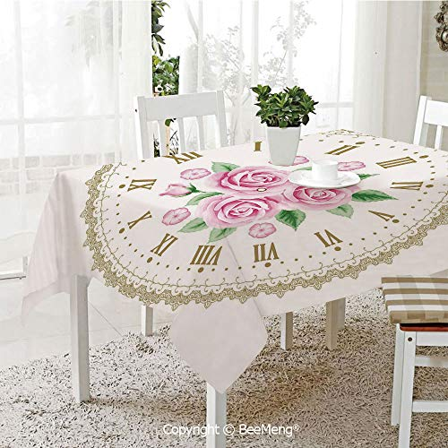 BeeMeng Dining Kitchen Polyester dust-Proof Table Cover,Shabby Chic Decor,Vintage Clock Face Roses Roman Numbers Antique Vintage Decorative,Light Pink Green Dark Khaki,Rectangular,59 x 59 ()
