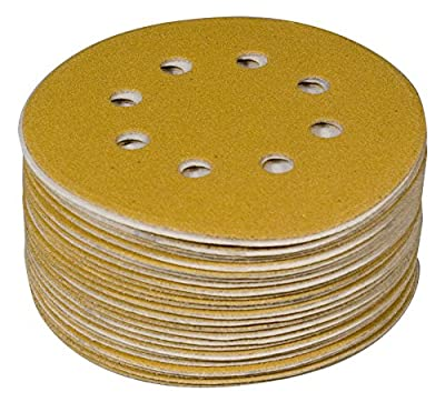 POWERTEC 44015G-50 5-Inch 8 Hole 150 Grit Hook and Loop Sanding Discs, Gold, 50-Pack