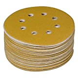 "POWERTEC 44008G-50 Gold 5"" Hook and Loop Sanding Disc 