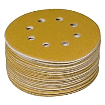 POWERTEC 44022G-50 5-Inch 8 Hole 220 Grit Hook and Loop Sanding Discs, Gold, 50-Pack