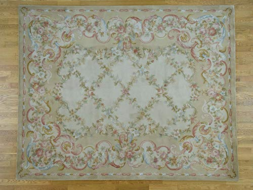 8'x10' Savonnerie Floral Trellis Design Thick And Plush Hand-Knotted Rug G43637