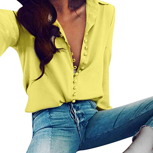 Top T Chemisier Col en Casual Classique Chic Manches Boutonne Blouse Fluide Femme Longues Tee Sixcup Chemise V Shirt Jaune vZqpn