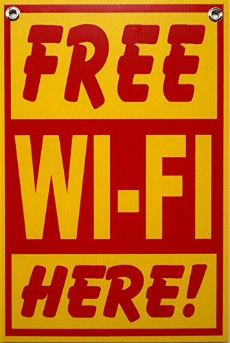 1 Pc Good Popular Free Wi-Fi Here Sign Indoor Decal Plastic Coroplast Store Door Size 8' x 12' with Grommets