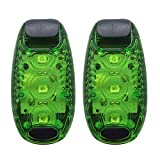 Rowrun LED Safety Light, Green Light, Nighttime High Visibility LED Lights with 3 Powerful Beads for Runners, Cyclists, Walkers, Joggers, Kids, Outdoors Activities, Batteries Included, 2/pcs