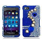 Aimo BB10PCLDI637 Dazzling Diamond Bling Case for BlackBerry Z10 - Retail Packaging - Pearl Blue