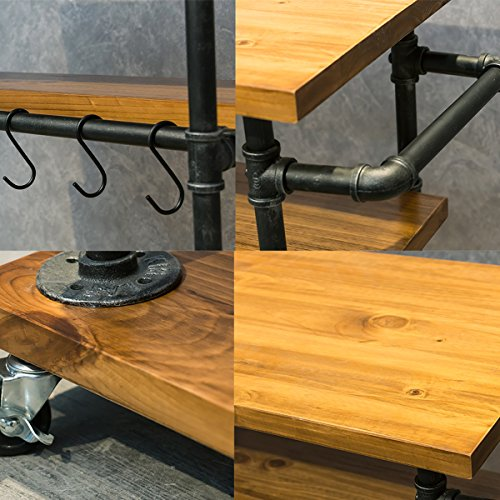 Industrial Portable Kitchen Island on Wheels,Bar Carts for the Home Wine Bar Beverage Coffee Cart,Metal Rolling kitchen carts and islands,Wood and Pipe 3-Tier Butcher Block Island Food Serving Cart by MBQQ (Image #3)