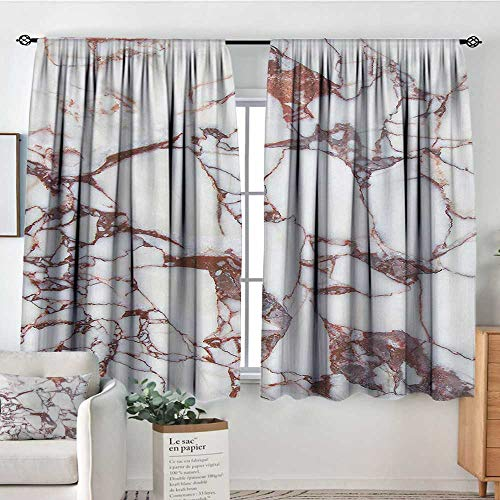 Elliot Dorothy White Curtains Marble,Dolomite Rocks Pattern with Characteristic Swirls and Cracked Lines Abstract Art,Beige Brown,Decorative Curtains for Living Room and Bedroom 63