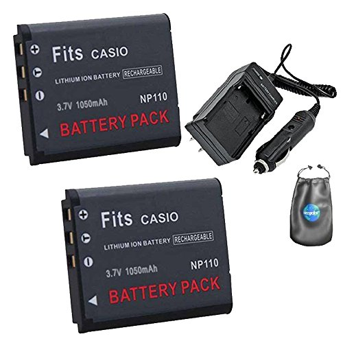 Amsahr S-NP110-2CT, Pack-2, Digital Replacement Battery Plus Travel Charger for Casio NP110, EX-ZR10 - Includes Lens Accessories Pouch (Gray) by Amsahr