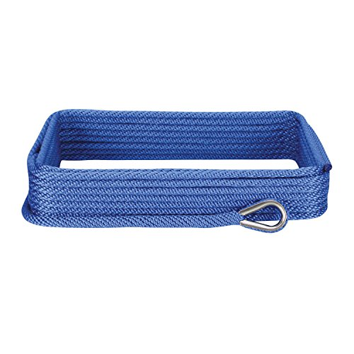 Nylon Anchor Line - Extreme Max 3006.2051 BoatTector 3/8 x 50' Premium Solid Braid MFP Anchor Line with Thimble, Royal Blue