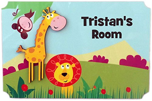(Rikki Knight Tristan's Room - 3D Giraffe on Jungle - Door Sign Plaque with Name for Children and Baby's Bedroom)