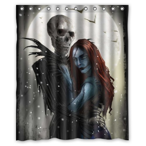 Unique Decorative Nightmare Before Christmas Theme 100% polyester shower curtain 60