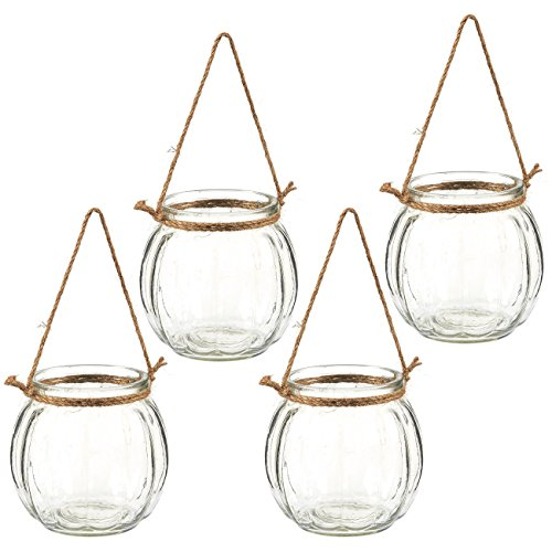 Juvale Hanging Planters - Set of 4 Decorative Hanging Planters, Plant Pots Ideal Air Plants, Succulents, Tea Light Candles, Wall Hanging Accessories Home Office Decor, 4.5 x 4.5 x 4.5 inches