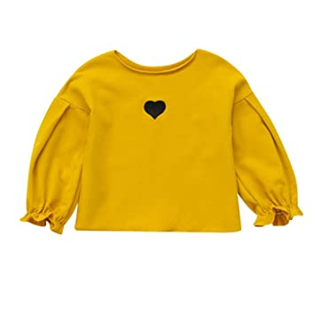 9c78cd48afc0c Amazon.com : Efaster Cute Baby Girls Soft Long Sleeve Heart Print Tshirt  Toddler Kids Candy Color Tops Shirt Clothes (4T, Yellow) : Beauty