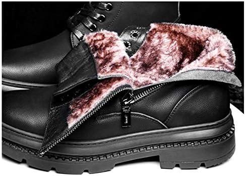 男性の戦闘靴レースアップマイクロファイバーレザーソリッドカラーサイドジッパーラウンドトゥ滑り止めのためのミッドカーフブーツはフラット裏地オプション暖かいフリースをキープ YueB HAL (Color : Black fleece lined, サイズ : 27 CM)