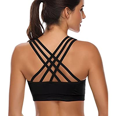 Padded Strappy Sports Bras for Women - Activewear Tops for Yoga Running Fitness at Women's Clothing store