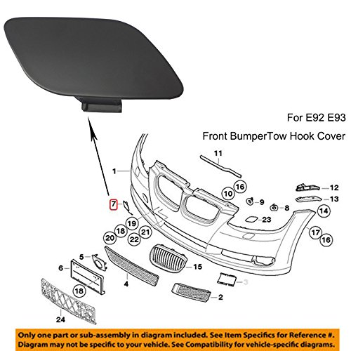 YUK For BMW E92 E93 3-Series 328i 328xi 335i 2006-2009 Front Bumper Tow Hook Cover
