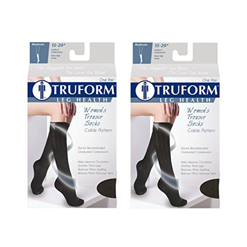 Truform Women's Fit Compression Socks, Cable Knit Pattern, 15-20 mmHg, Navy, Medium (Pack of 2) ()