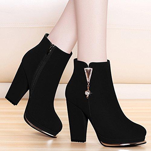 KHSKX-Las Nuevas Botas Con Grueso Grueso Y Cashmere Con Botas De Gamuza Impermeable Zapatos De Tacón Botas Round Boot Zapatos CalienteBlackTreinta Y Nueve Thirty-six