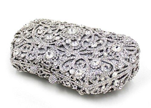 XYXM Mujer embrague de lujo de mano llena bolso de mano de metal hecho a mano cristal bolsa de vestir paquete de noche , red silver