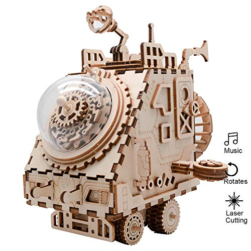 Eggschale Space Vehicle Machinarium Music Box DIY Musical Box Kit 3D Puzzle Toys Gifts Birthday Christmas for Teens Boys