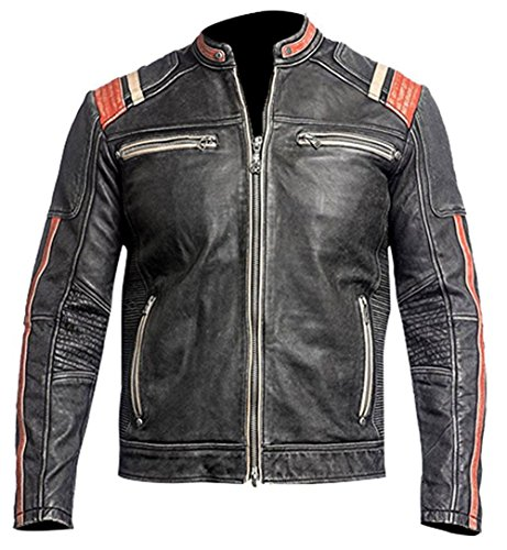 (Cafe Racer Vintage Retro Motorcycle Biker Style Genuine Leather Jacket Motorbike with Red Stripes on Sleeves- XL)