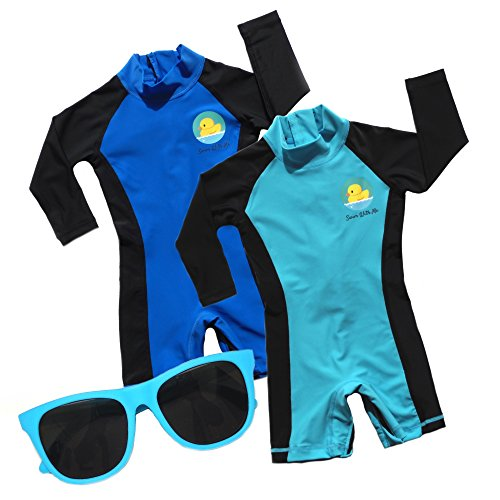 Swim with Me- SPF 50+ Sun Protection Swimsuit for Infant, Baby, Toddler 0-24 Months. (6-12 Months, Blue/Light Blue (Value 2 Pack)) ()