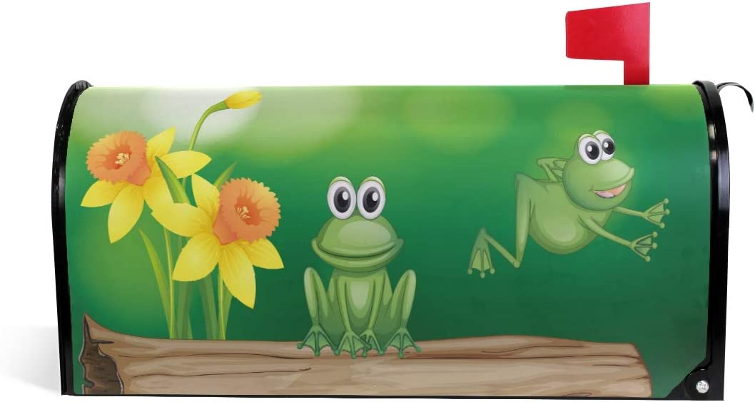 senya Home Garden Two Green Frogs Pattern Magnetic Mailbox Cover Standard