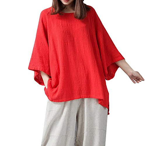 POHOK 3/4 Sleeve Tops of Women Fashion Vintage Womens Loose 3/4 Sleeve Blouse Casual Solid Color Classical Tops Shirt (S,Red) -