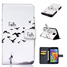Galaxy S5 Case,XYX [Faith] - [Relief Leather][Kickstand][Wallet][Card Slot][Flip][Slim Fit] Premium Protective Case for Samsung Galaxy S 5 SV / S5 Neo