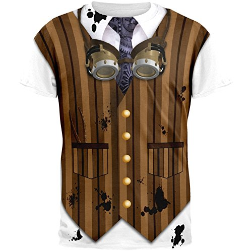 Halloween Steam Punk Engineer Costume All Over Adult T-Shirt - X-Large (Steampunk Clothing Men)