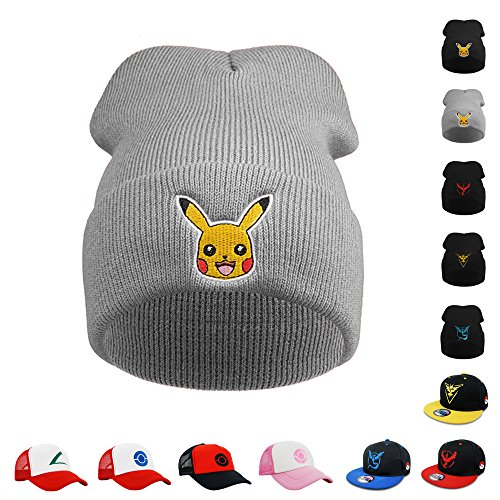 [PopCrew [Trainer Knit Hat] Pokemon Pikachu Beanie Cosplay Costume (Grey)] (Father Of The Year Costume)