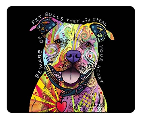 Schoolsupplies Mouse Pad, Premium Office&Gaming Mouse Pad Design - Beware of the Pit Bulls Mouse Pad 9x7in (Natural Eco Rubber)