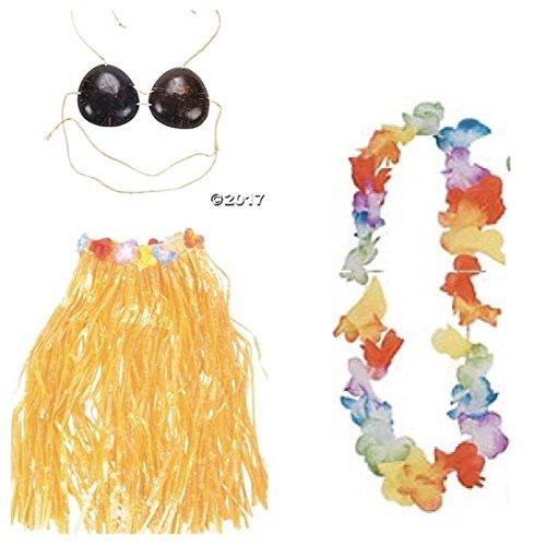 Adult Size GRASS HULA Skirt with COCONUT BRA & LEI - Flower Trim Waist 34