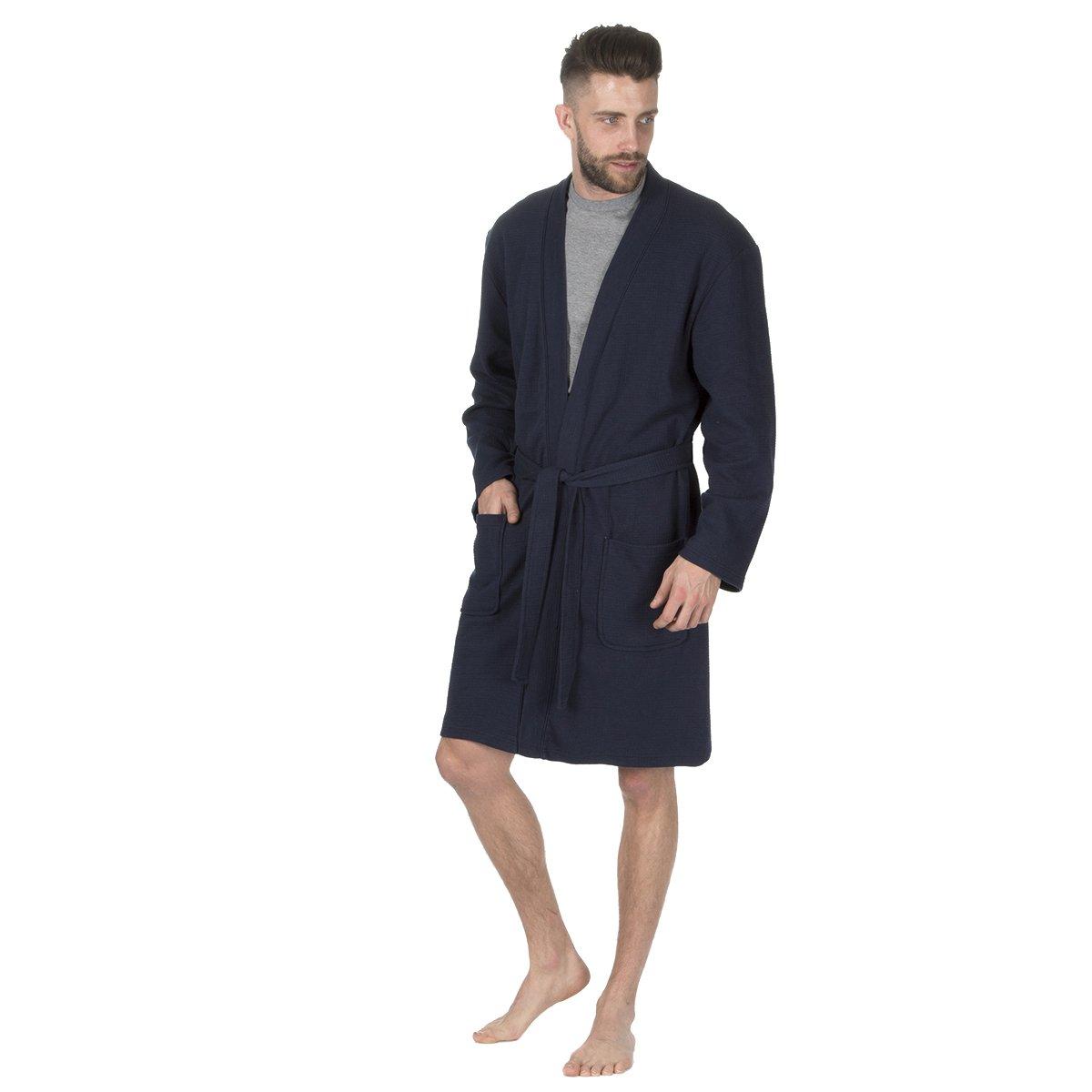 Men's Luxury Towelling Bath Robe Cotton Blend Waffle Weave Kimono Gown House Coat Navy Large