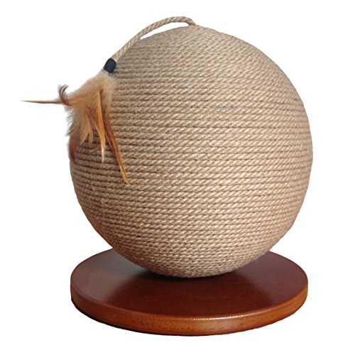 Cat Scratching Post, Sphere, Modern Round Design Cat Furniture with Sisal Rope & Feathers