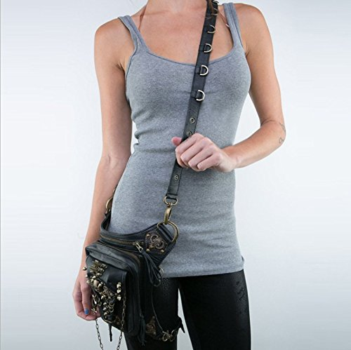fashion multi messenger Women's shoulder Black bag pockets function fei punk Wei locomotive REAZqx8nw