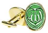 Allah Green 18x24mm (3/4'' X 1'') Oval Bright Gold Pair of Cufflinks