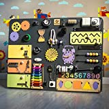 SmartKids-2 European Quality. Handmade Wooden Busy Board, Clever Puzzles, Locks and Latches Activity Board (Black)