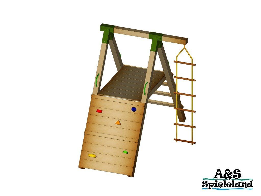 Spielturm JUNIOR 2.0 Kletterturm Kletterwand Strickleiter Pfosten 9x9cm