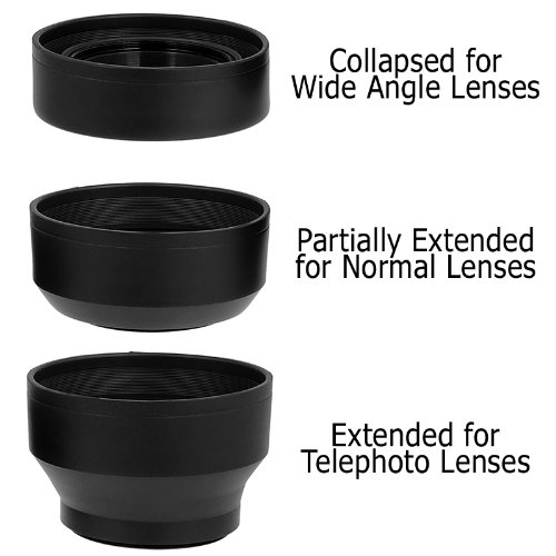 Fotodiox 3-Section Rubber Lens Hood, Sun Shade, 49mm