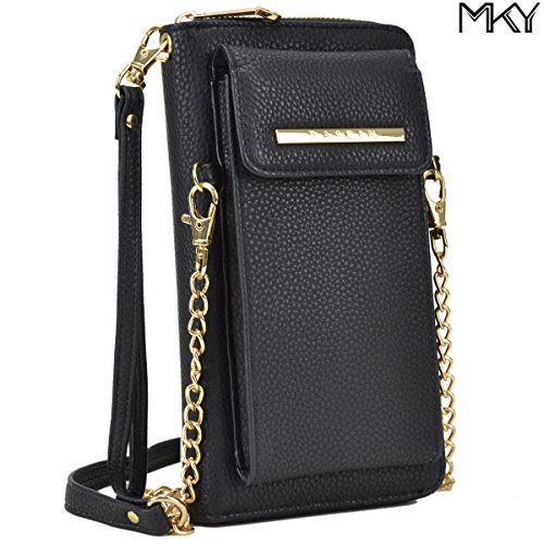 Cellphone Wallet Smartphone Pouch Clutch Purse Crossbody Shoulder Bag Wristlet Smart Phone Case Black by MKY