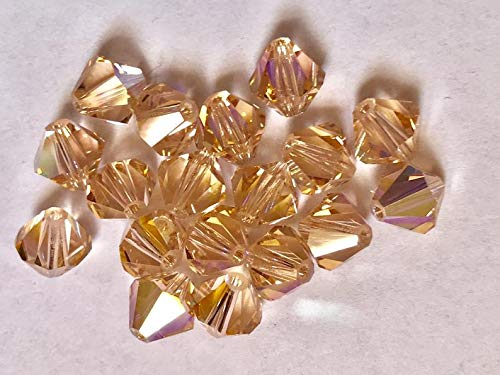 (Huge Selection of Beading Accessories - 12 Vintage Crystals - Discontinued Art 5301-8 mm - Light Peach)