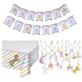 Unicorn Party Supplies Set | Magical Pastel Design with Sparkle Gold Glitter Unicorn Banner| Unicorn Sparkle Plastic Tablecloth | 30 Ct Unicorn Sparkle Gold Glitter Hanging Swirl Decorations -Unicorn