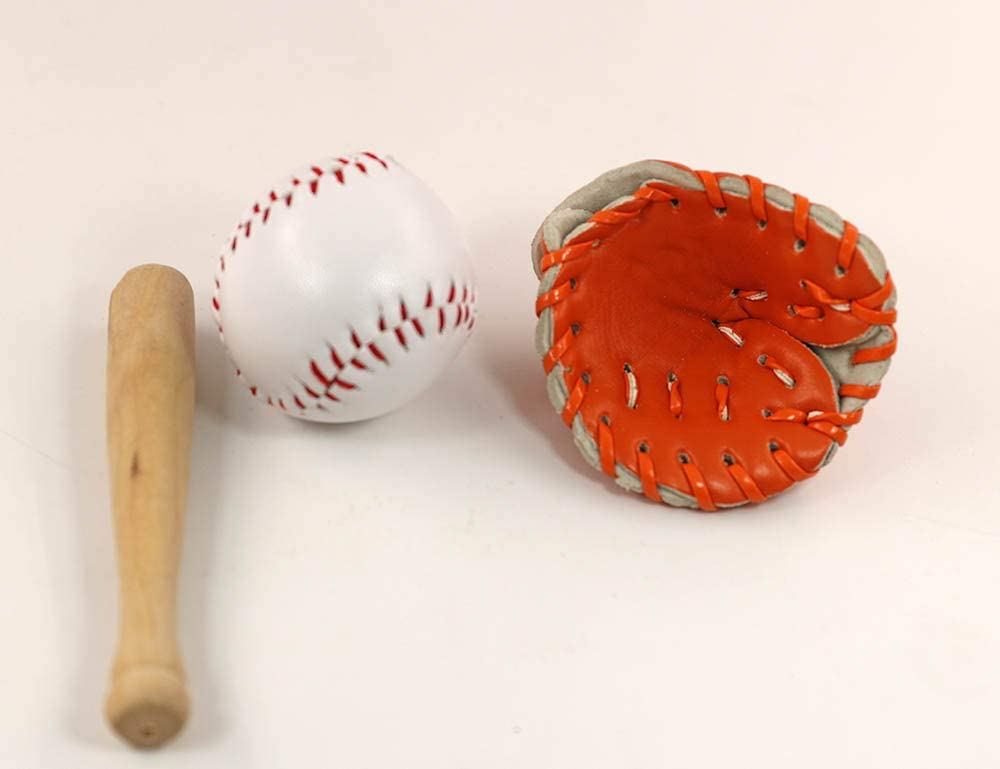 3PCS 1//12 Mini Dollhouse Baseball Sport Bat Ball Glove Children Toy